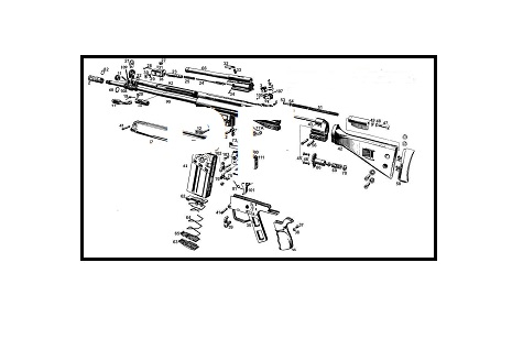H&K G3 Rifle - Exploded View drawing with